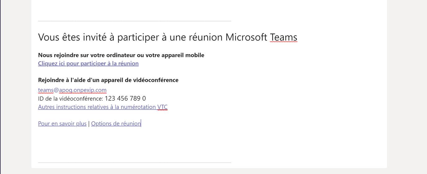 Invitation CVI Cloud Video Interop sur Microsoft Teams