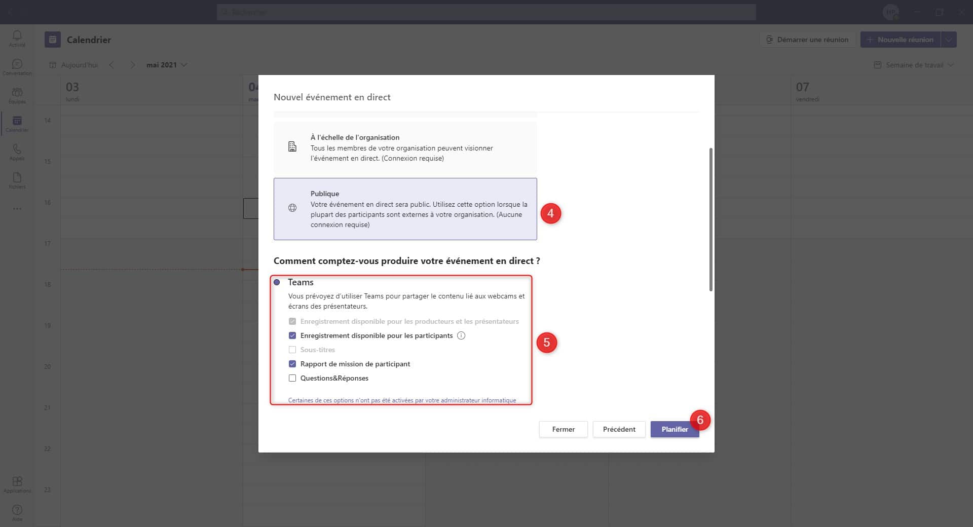 Planifier un Évènement en Direct - Publique - Microsoft Teams