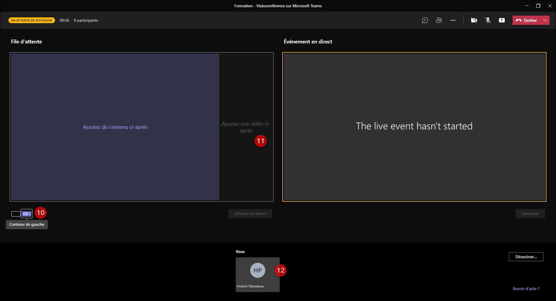 Paramétrage Écran - Votre Évènement en Direct - Formation avec Teams